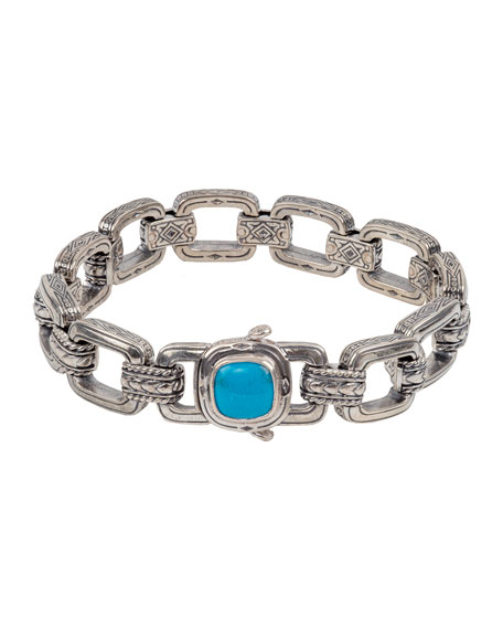 Konstantino Men's Sterling Silver & Turquoise Link Bracelet
