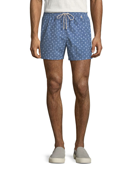 Loro Piana Palm Print Swim Trunks
