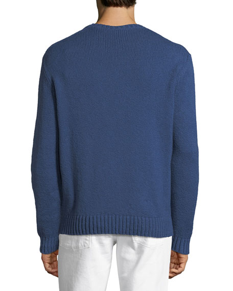 Textured-Knit Crewneck Sweater