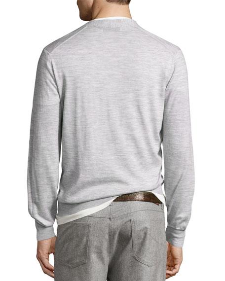 Fine-Gauge Wool-Blend Button Cardigan, Light Gray