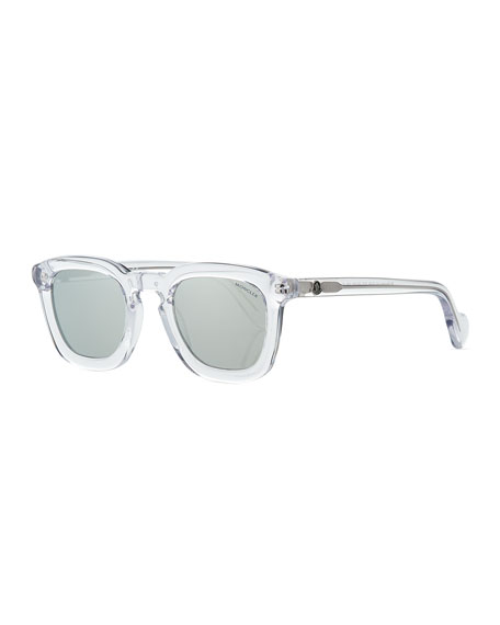 Square Transparent Plastic Universal Fit Sunglasses, White/Gray