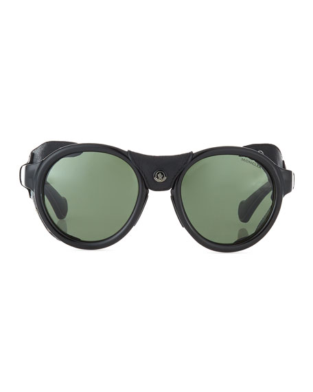 Round Acetate Sunglasses w/ Leather Trim, Black/Green