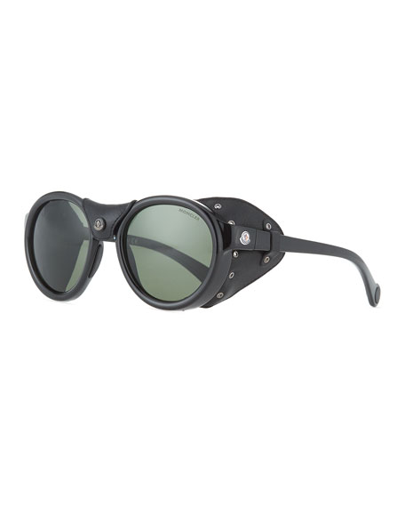 Moncler Round Acetate Sunglasses w/ Leather Trim, Black/Green