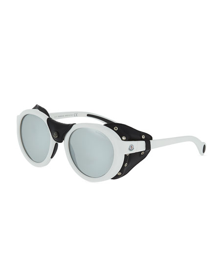 Moncler Round Acetate Sunglasses w/ Leather Trim, Black/White
