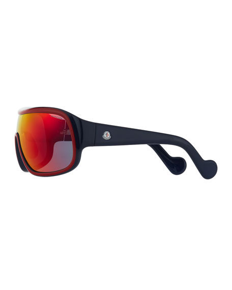 Two-Tone Mirrored Shield Sunglasses, Red/Gray