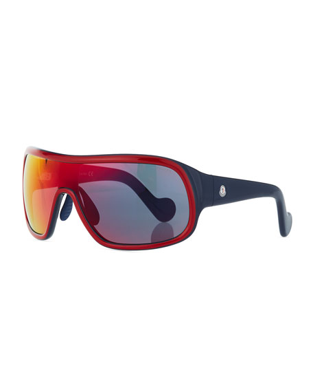 Moncler Two-Tone Mirrored Shield Sunglasses, Red/Gray