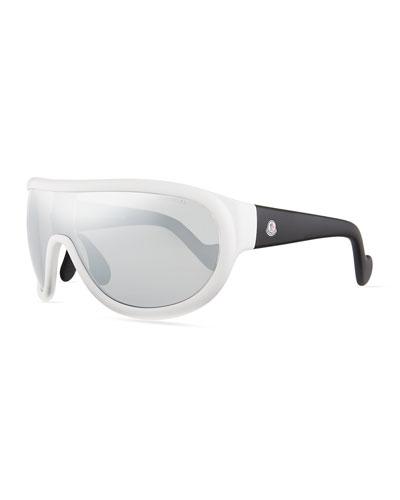 Mirrored Shield Sunglasses, Black/Silver