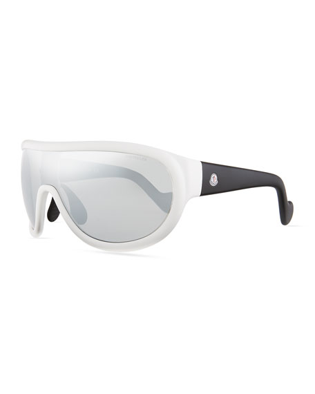 Moncler Mirrored Shield Sunglasses, Black/Silver