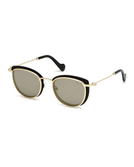 Metal Cat-Eye Mirrored Universal Fit Sunglasses, Black/Gold