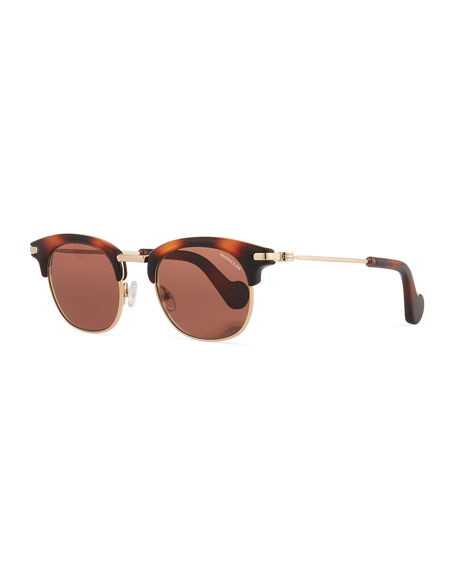 Moncler Half-Rim Universal Fit Sunglasses, Brown