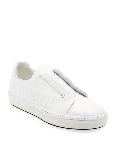 Giorgio Armani Logo-Embossed Slip-On Low-Top Sneaker, White