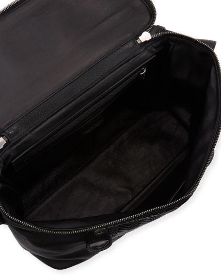 Men's Chevron-Front Deerskin Messenger Bag