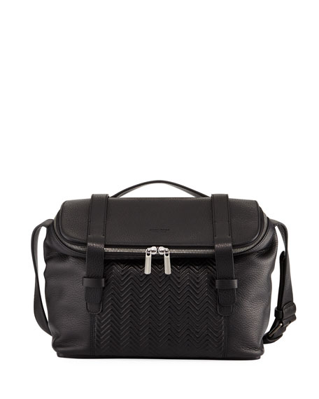 Giorgio Armani Men's Chevron-Front Deerskin Messenger Bag