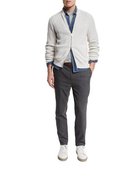 Ribbed Knit Full-Zip Cardigan