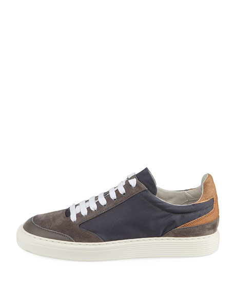 Suede-Trim Low-Top Sneaker