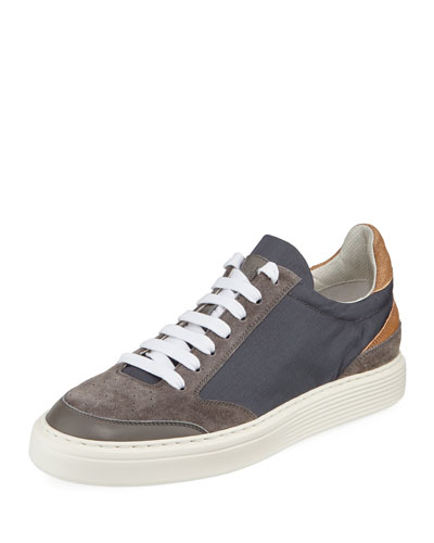 Urano Suede-Trim Low-Top Sneaker