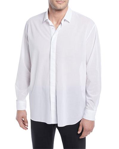 Hidden-Button Sport Shirt