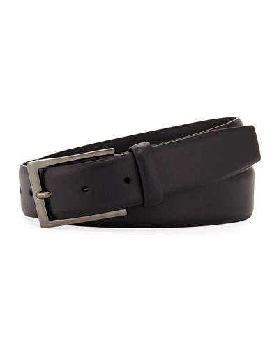 Fixed-Buckle Leather Belt