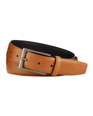 849ac32efa546 Ermenegildo Zegna Men's Smooth Leather Belt
