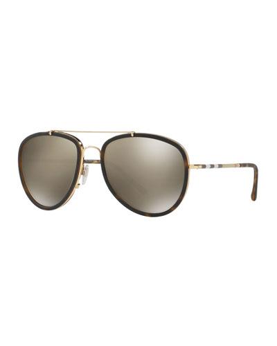 Men's Mirrored Steel Aviator Sunglasses