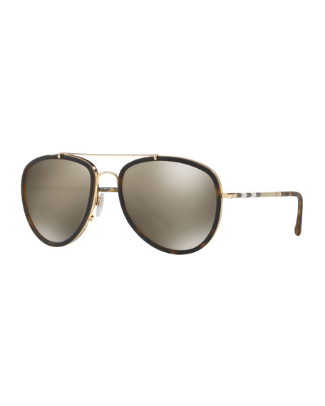 Burberry Men's Mirrored Steel Aviator Sunglasses