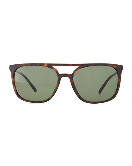Flat-Top Polarized Square Acetate Sunglasses