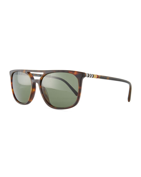 Burberry Flat-Top Polarized Square Acetate Sunglasses