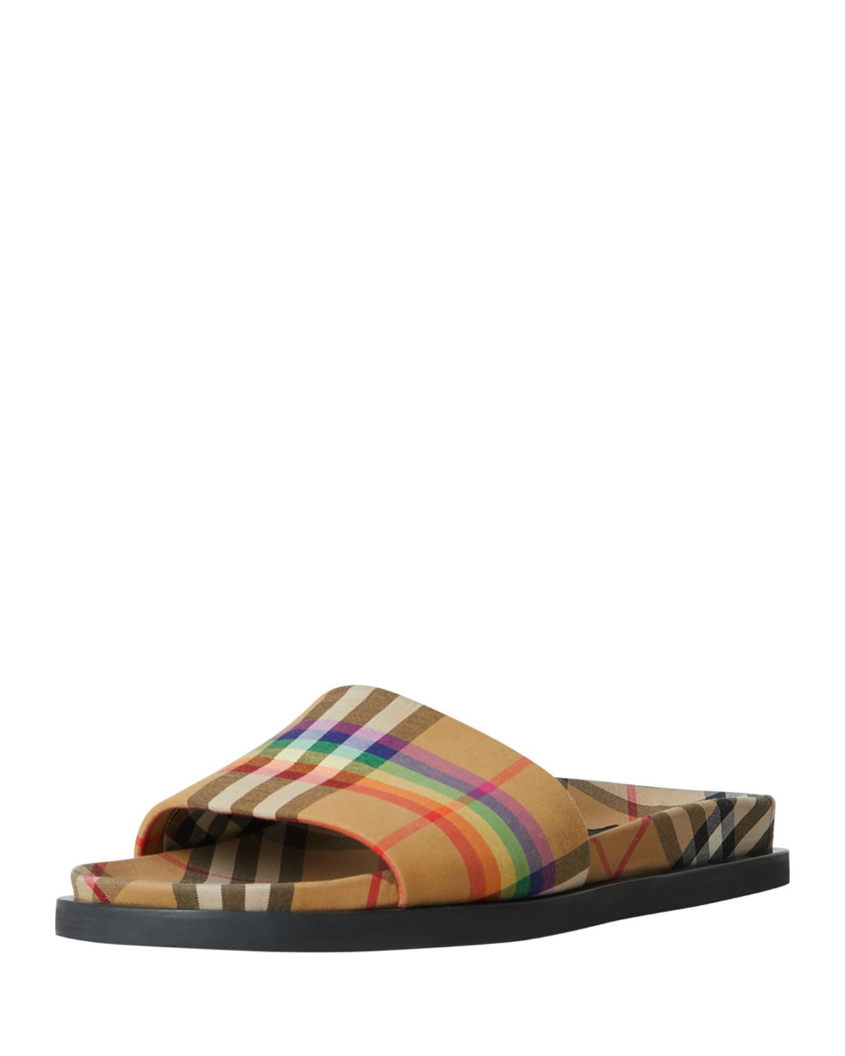 45c62680ec75 Burberry Ashmore Low-Top Rainbow Check Slide Sandal