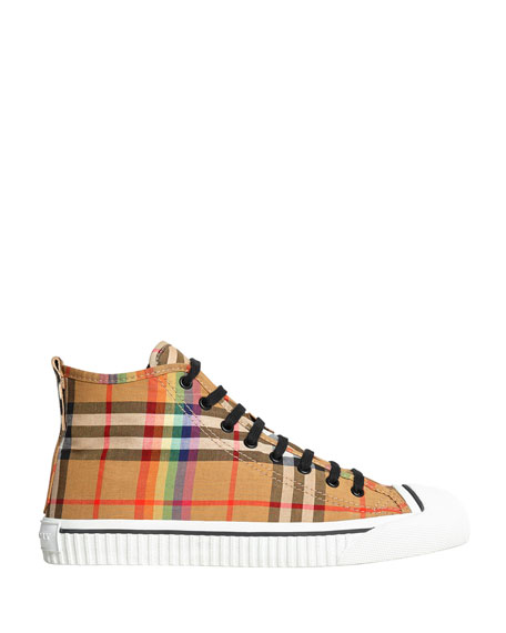 Men's Kingly High-Top Rainbow Check Sneakers