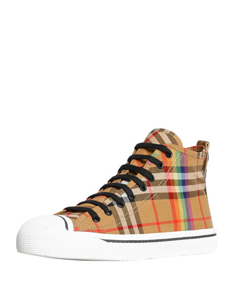 Burberry Men's Kingly High-Top Rainbow Check Sneakers