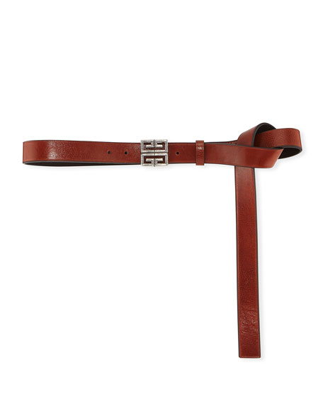 4-G Engraved Long Leather Belt