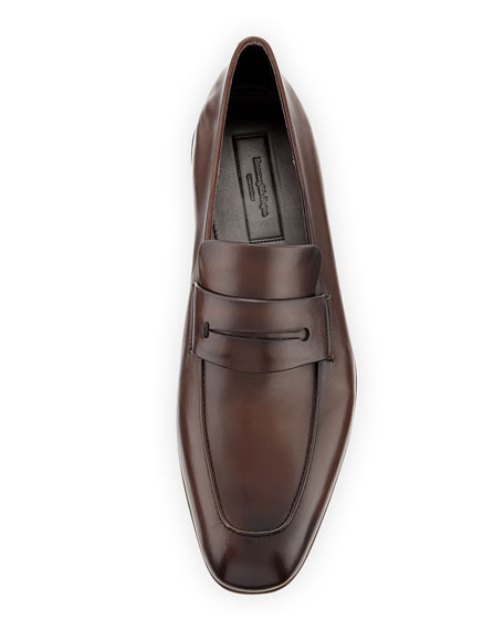 Asola Napa Leather Penny Loafer, Brown