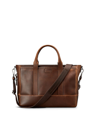 Men's Navigator Leather Briefcase Tote Bag