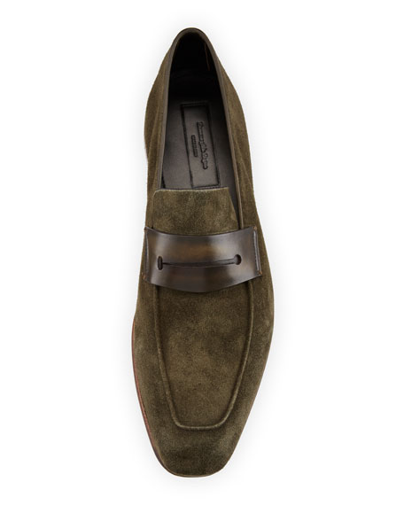 Lasola Soft Suede Penny Loafer, Green