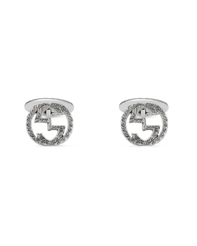 4cc335b77a516 Sterling Silver Interlocking-G Cuff Links
