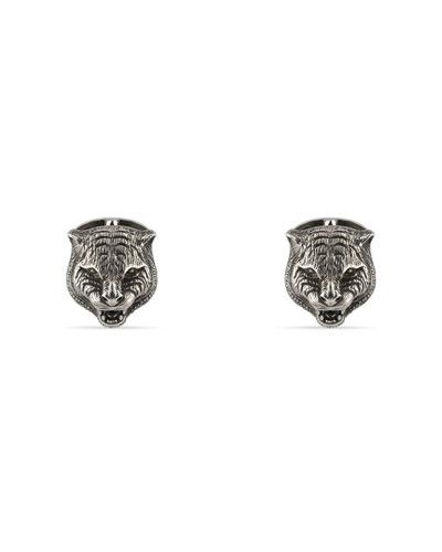 Sterling Silver Feline Head Cuff Links