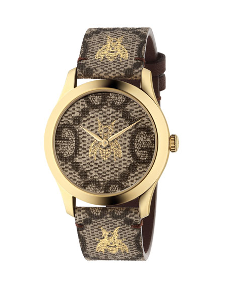 Gucci Bee and Logo-Embossed Leather Watch
