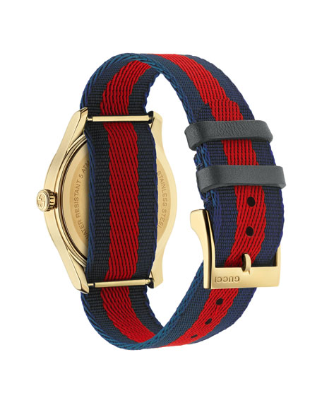 Bee-Embroidered Nylon Web Watch, Blue/Red