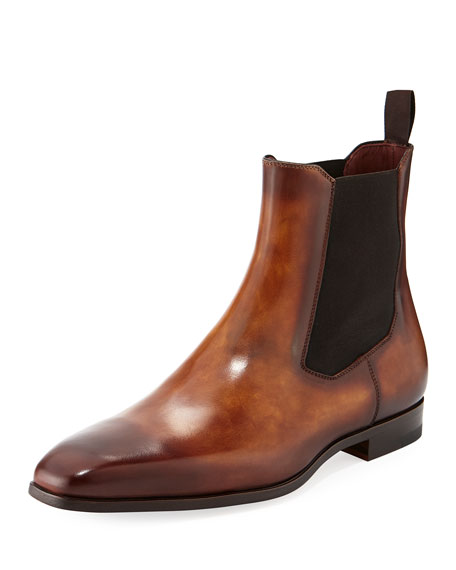 Magnanni for Neiman Marcus Men's Calfskin Leather Chelsea