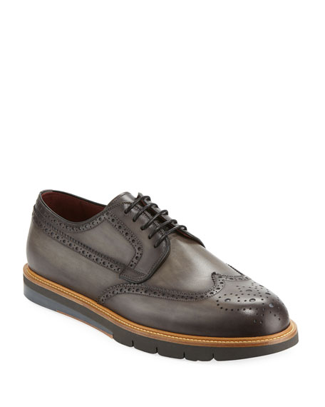 Magnanni for Neiman Marcus Men's Wing-Tip Leather Brogue