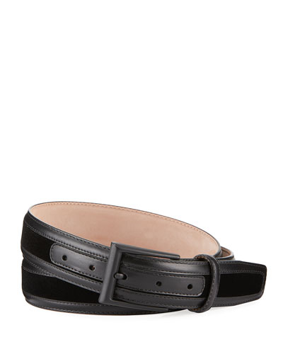 Men's Leather-Trim Velvet Formal Belt