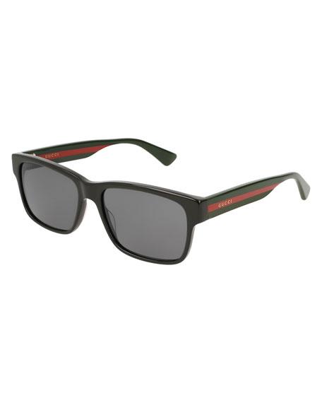 Gucci Square Acetate Sunglasses with Signature Web