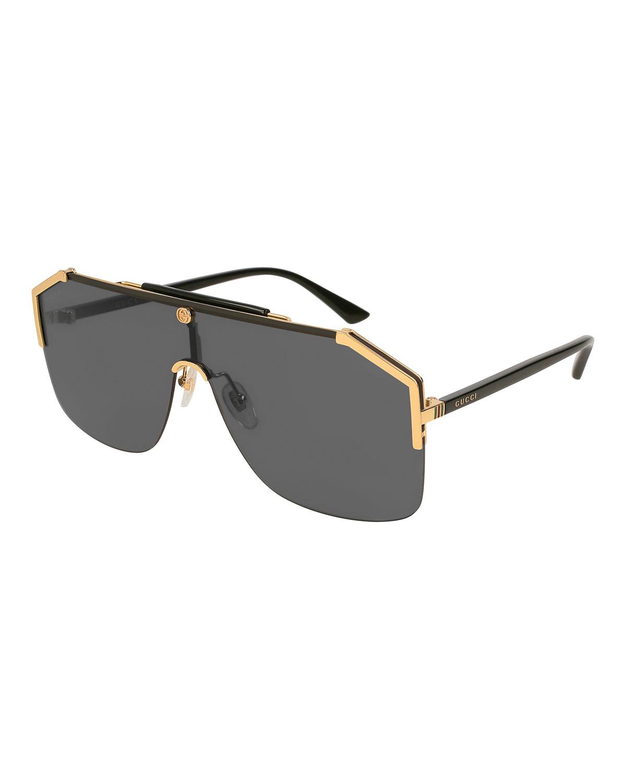 aae010908 Gucci Geometric Metal Shield Sunglasses | Neiman Marcus