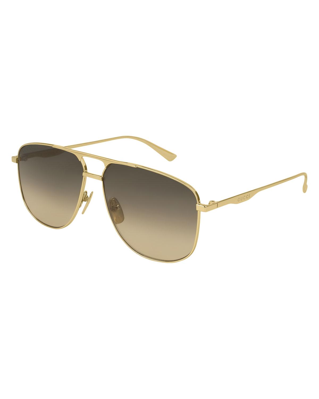 f0313046397a Gucci Metal Pilot Sunglasses, Gold | Neiman Marcus