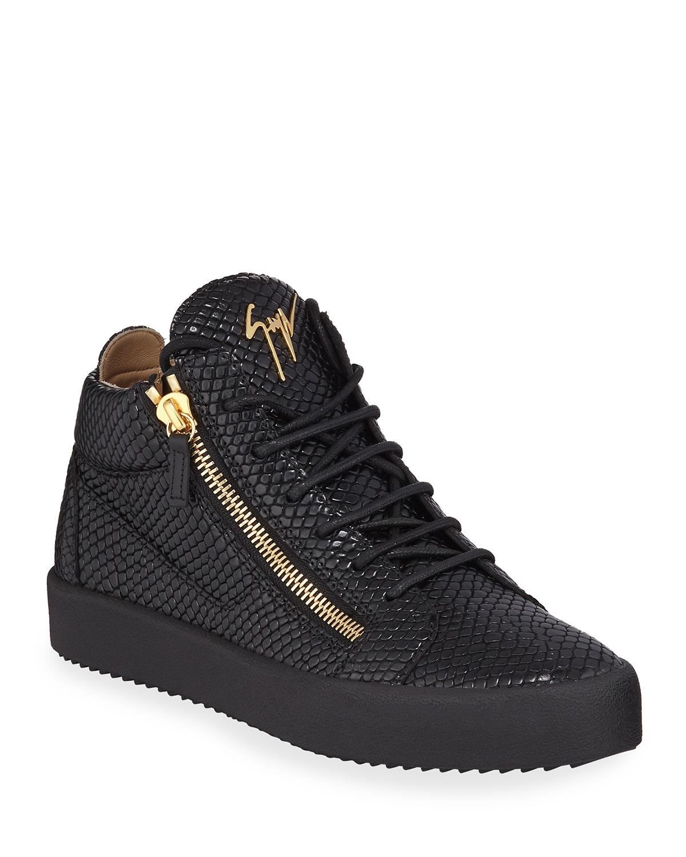 Embossed Leather Mid-Top Sneakers