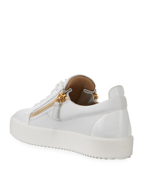 Image 4 of 4: Giuseppe Zanotti Men's London Double-Zip Leather Low-Top Sneakers