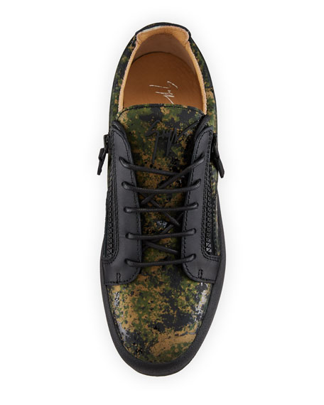 Men's Splatter-Print Leather Low-Top Leather Sneakers