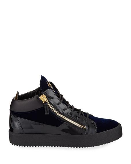 Men's Velvet & Patent Leather Mid-Top Sneakers