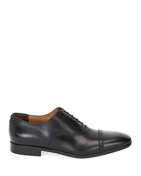 Men's Boston Leather Lace-Up Dress Oxford, Black