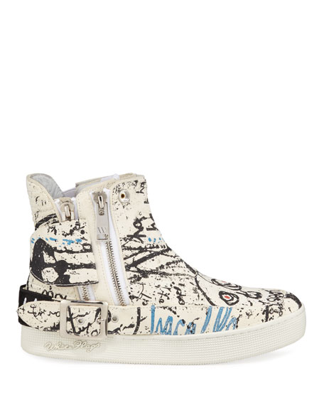 Men's Insanity Art High-Top Leather Sneakers